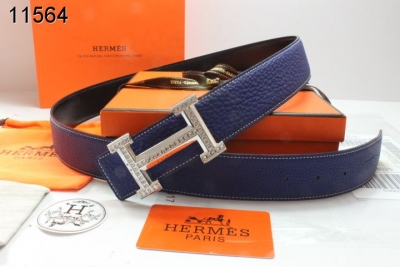 Cool Womens Dark Blue Hermes Belt with Blingbling H Buckle