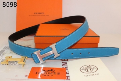 Featured Belt Blue Hermes Womens with Silver H Buckle