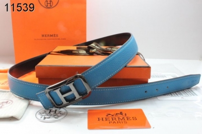 New Belt Hermes with Black/Silver H Buckle Womens Blue