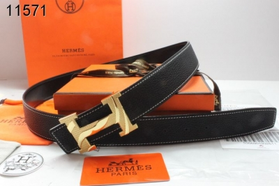 Personalized Belt Hermes with Golden H Buckle Womens Black