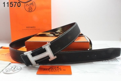 Protective Belt with Silver H Buckle Womens Black Hermes