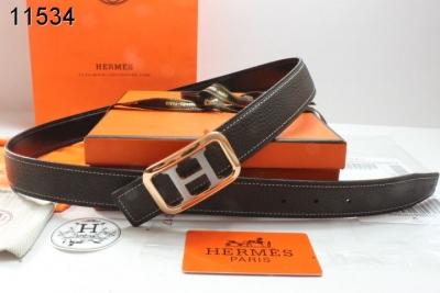 Retail Hermes Black Womens Belt with Golden/Silver H Buckle