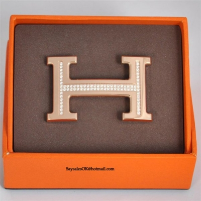 Hermes 18k Rose Gold Plated H Buckle with Single Row Full Diamon