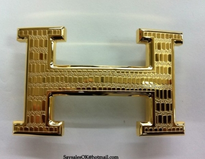 Hermes Lizards Stripe Buckle Gold