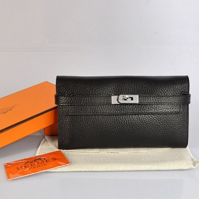 A708 Hermes Kelly Wallet clemence leather in Black