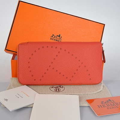A808 Hermes Evelyn Wallet clemence leather in Watermelon Red