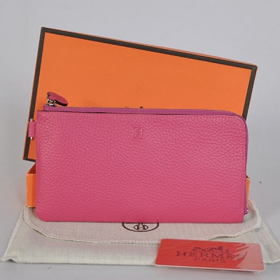 A908 Hermes Zipper Wallet clemence leather in Peach