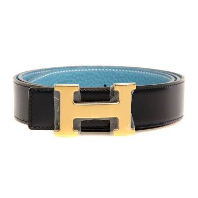 H1002 Hermes belt leather in Black/Medium Blue with H Gold Buckle