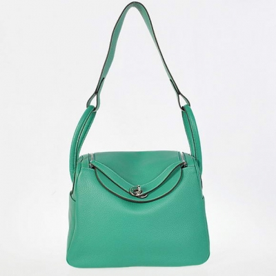 H1057 Hermes Lindy 30CM Havanne Handbags 1057 Green Leather Silver Hardware