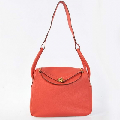 H1057 Hermes Lindy 30CM Havanne Handbags 1057 Light Red Leather Golden Hardware