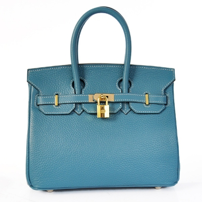 H25LSMBG Hermes Birkin 25CM clemence leather in Medium Blue with Gold hardware