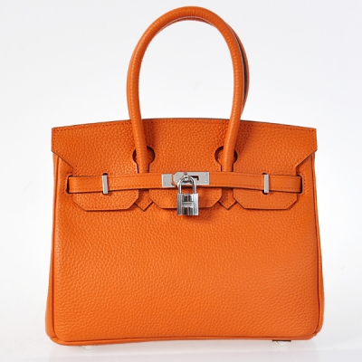H25LSOS Hermes Birkin 25CM clemence leather in Orange with Silver hardware