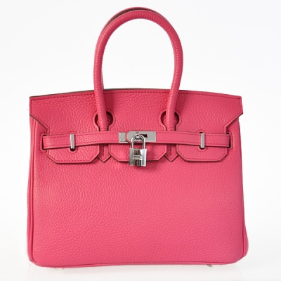 H25LSPS Hermes Birkin 25CM clemence leather in Peach with Silver hardware