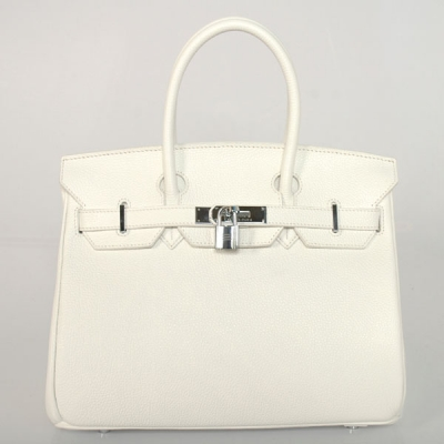 H30BJPWS Hermes Birkin togo leather 30CM togo in Pure white with Silver hardware