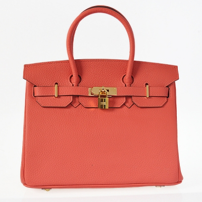 H30LSWRG Hermes Birkin 30CM clemence leather in Watermelon Red with Gold hardware