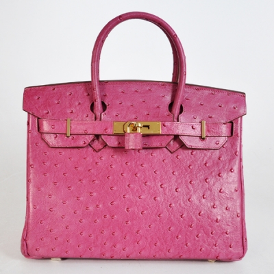 H30OSPG Hermes Birkin 30CM Ostrich stripes leather in Peach with Gold hardware