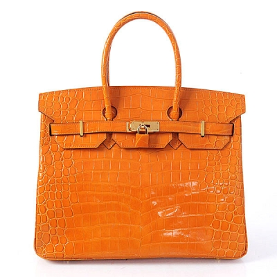 H35 Hermes Birkin 35CM Crocodile leather in Light Orange with Gold hardware