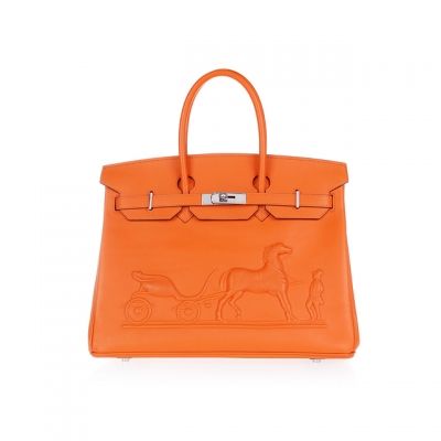 H35 Hermes Birkin 35CM with Embossed logo Handbag Light  orange H35