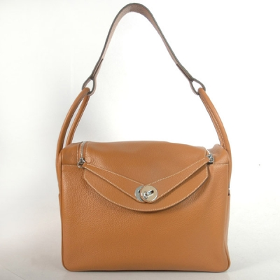 1056CS Hermes Lindy Bag 34 clemence leather in Camel with Silver hardware
