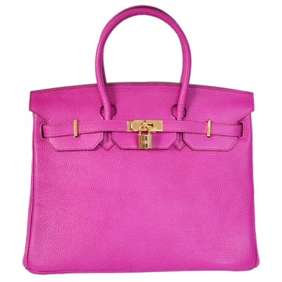 H35CPG Hermes Birkin 35CM clemence leather in Purpurin with Gold hardware