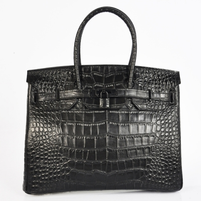H35CSBB Hermes Birkin 35CM Crocodile stripes leather in Black with Black hardware