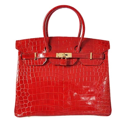 H35HLCFG Hermes Birkin 35CM high light Crocodile leather in Flame with Gold hardware