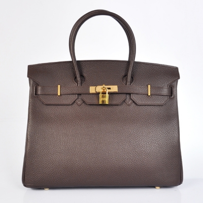 H35LDBG Hermes Birkin 35CM clemence leather in Dark Brown with Gold hardware