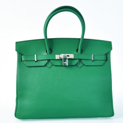 H35LDGS Hermes Birkin 35CM clemence leather in Dark green with Silver hardware