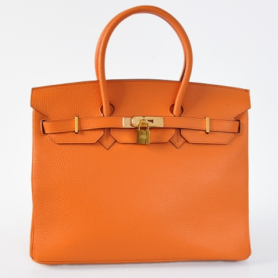 H35LSOG Hermes Birkin 35CM clemence leather in Orange with Gold hardware
