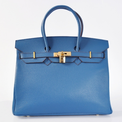 H35LTBG Hermes Birkin 35CM clemence leather in turkey blue with Gold hardware