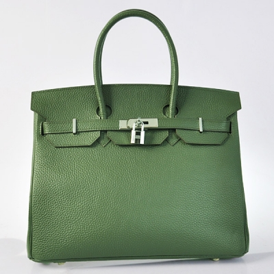 H35POSG Hermes Birkin 35CM clemence leather in Army Green with Silver hardware