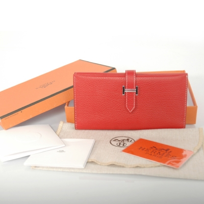 H3WBJSF Hermes 3 fold wallet togo leather in Flame