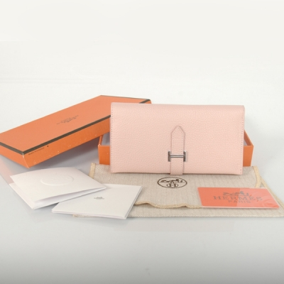 H3WBJSP Hermes 3 fold wallet togo leather in Pink