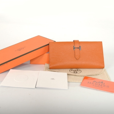 H3WBLLO Hermes 3 fold wallet leather in Orange