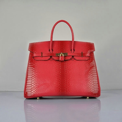 H6089 Hermes Birkin 35CM Red Snake Leather Tote Bag Gold