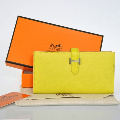 208 Hermes 2 flod original leather wallet in Lemon Yellow