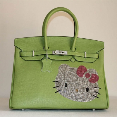 HK0001 Hermes Birkin Hello Kitty 35CM Togo Leather Bag Green HK0001
