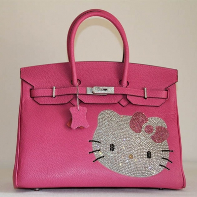 HK0001 Hermes Birkin Hello Kitty 35CM Togo Leather Bag Peach HK0001