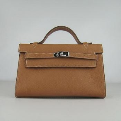 HKL22CNSLC16 Hermes Kelly 22CM Cattle Neck Stripe Light Coffee