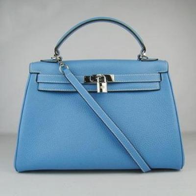 HKL32OLBS007 Hermes Kelly Handbags 32CM Light Blue(silver)