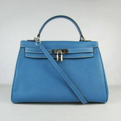 HKL32OMBS009 Hermes Kelly Handbags 32CM Middle Blue(silver)
