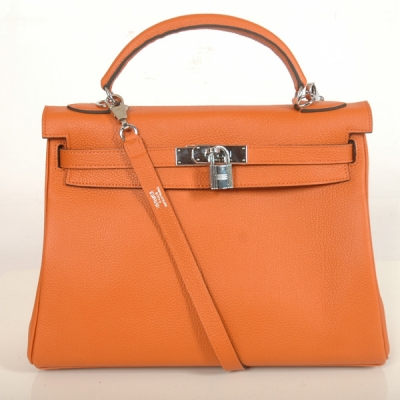 K32BJOS Hermes Kelly togo leather 32CM togo in Orange with Silver hardware