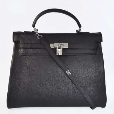 K35CBS Hermes kelly 35CM clemence leather in Black with Silver hardware
