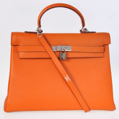 K35COS Hermes kelly 35CM clemence leather in Orange with Silver hardware