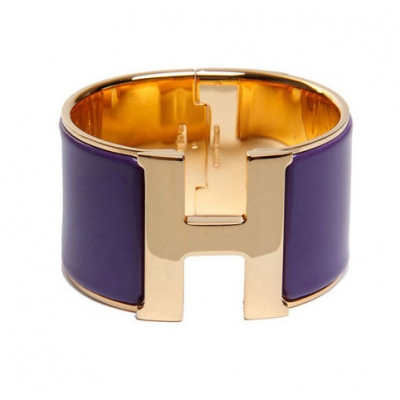 Hermes 1.5Inch Clic-Clac H Bracelet 10k Gold With Purple Enamel