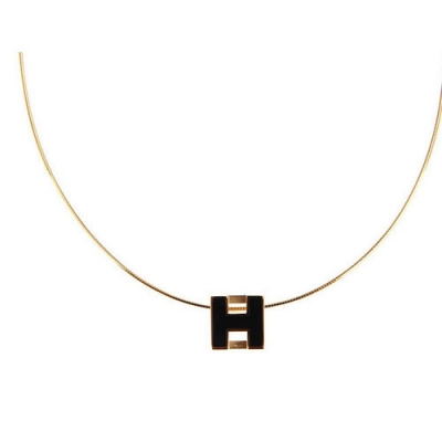 Hermes 10k Gold H Cube Choker Necklace with Black Enamel