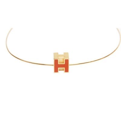 Hermes 10k Gold H Cube Choker Necklace with Orange Enamel