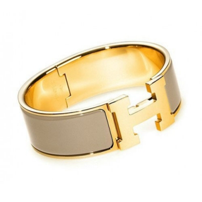 Hermes Gold Plated H Bracelet with Taupe Enamel Gold