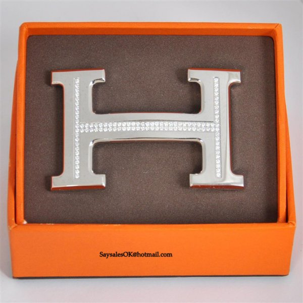 Hermes 18k Silver Plated H Buckle with Single Row Full Diamonds