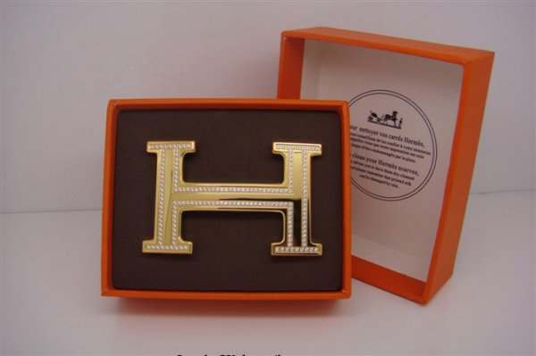 Hermes 18k Gold Plated H Buckle with Double Full Diamonds